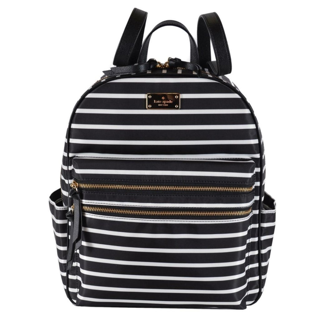 beautiful in colour laest technology Official Website Kate Spade Black Wilson Road Bradley LARGE French Stripe Backpack Bag -  14.5
