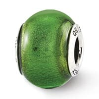 Italian Sterling Silver Reflections Green Glass Bead (3mm Diameter Hole)