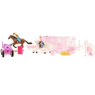 M&F Western Toy Kids Play Set Horse Stall Stable Pink
