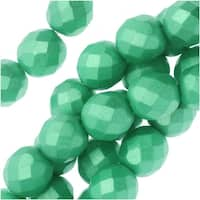 Czech Fire Polished Glass, Faceted Round Beads 8mm, 19 Pieces, Pastel Light Green / Chrysolite