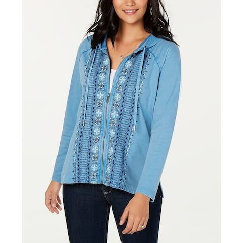 Style & Co Women's Cotton Embroidered Zip Hoodie Blue Size Extra Large - X-Large