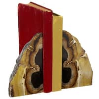 """Set of 2 Wooden Brown and Black Faux Agate Decorative Bookend Pair 6"""""""