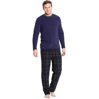 Club Room Mens Fleece Pajama Set Long Sleeve Shirt and Pants Navy Medium M