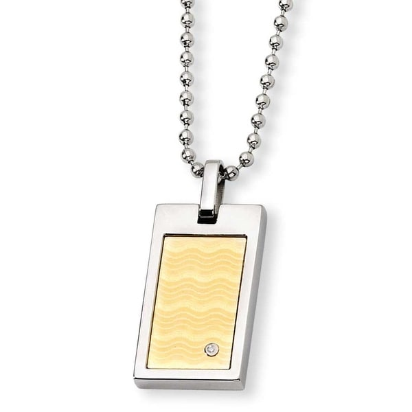Chisel Stainless Steel and 18k with Diamond Necklace (2 mm) - 24 in