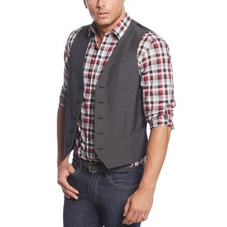 Alfani Big and Tall Weft Stripe Button Front Vest Black and Grey 3XB Big