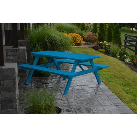 Pine 6' Picnic Table with Attached Benches