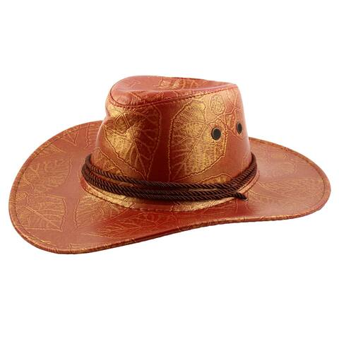 2f9b0c6abc132 Faux Leather Adjustable Neck Strap Wide Brim Western Style Sunhat Cowboy Hat  Red