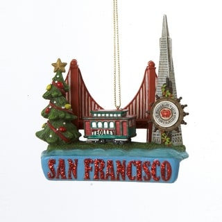 Pack of 6 San Francisco Street Car Trolley Glass Christmas