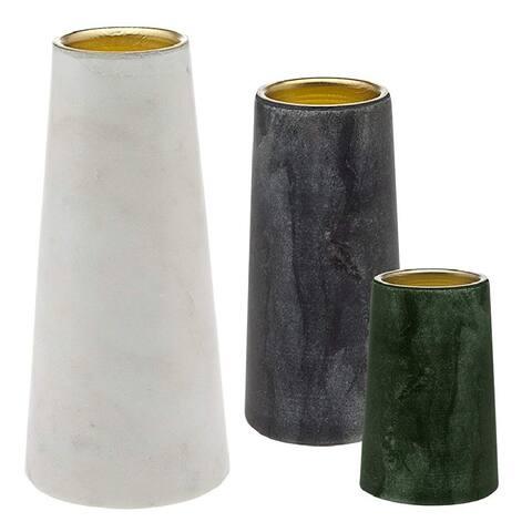 Godinger Silver Art S/3 Marble Votive Holders - White - 12.1 x 9.3 x 4.5