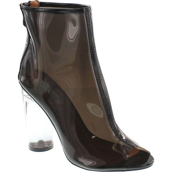 f23244a65a4 Cape Robbin Benny-1 Open Toe Block Chunky Clear Perspex Heel Ankle Boot  Bootie