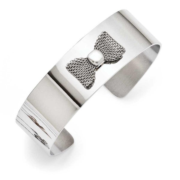 Chisel Stainless Steel Mesh Bow Polished Bangle