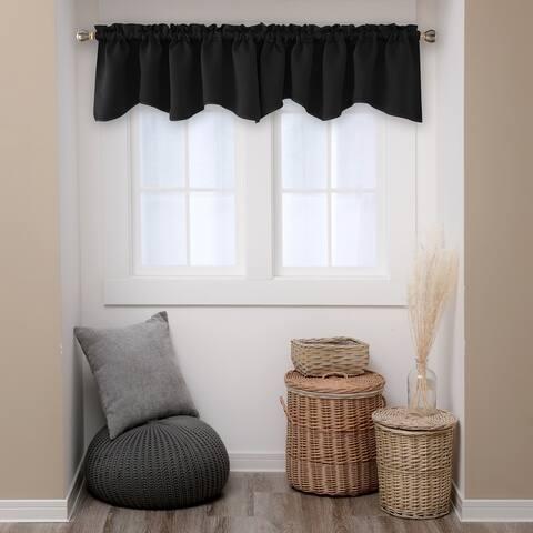 Deconovo Blackout Valance Scalloped Rod Pocket Curtain 1 Panel