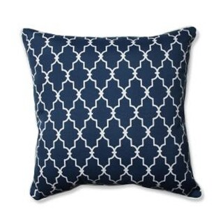 "25"" Moroccan Gate Navy Blue and White Floor Pillow"