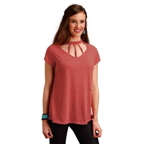 Roper Western Shirt Womens Short Sleeve Swing Red