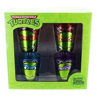 Teenage Mutant Ninja Turtles Heads Foil Shot Glass 4-Pack