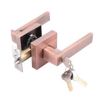 Entry Door Lever Lock Set Knob Keyed Handle Lockset, Antique Copper