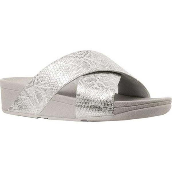 e981f29d1d7e92 FitFlop Women  x27 s Lulu Crisscross Slide Urban White Python Print Leather