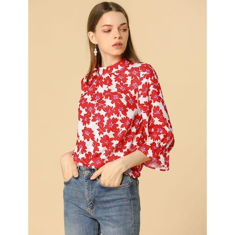 Women's Ruffle 3/4 Sleeves Pleated Stand Collar Tie Keyhole Back Floral Printed Blouse Top - Red