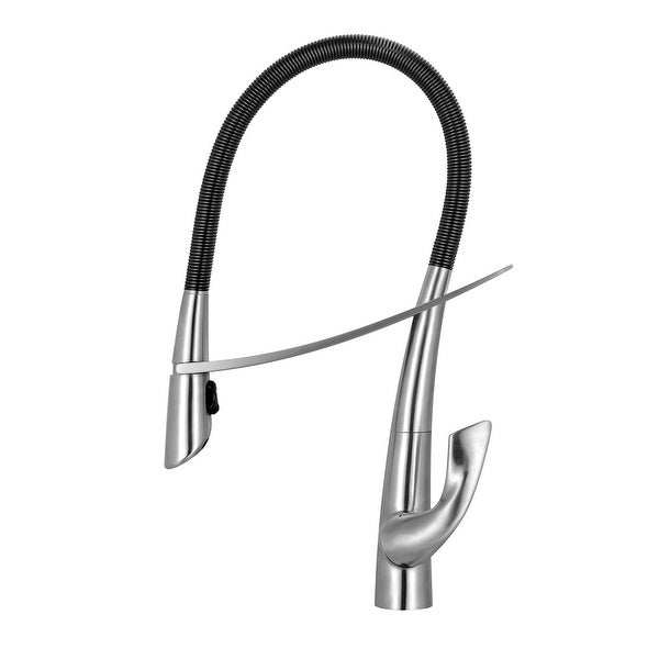 Whitehaus WHS1455-SK Swanhaus Single Hole Pull Down Faucet - Brushed Stainless Steel