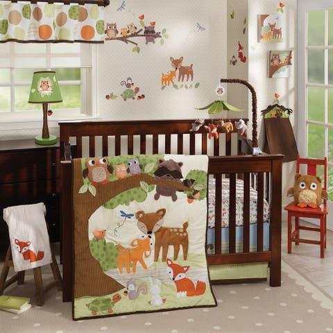 Lambs & Ivy Woodland Tales Deer, Fox, Owl, & Raccoon Forest Theme Nursery 4-Piece Baby Crib Bedding Set