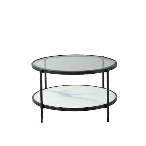 Modern Decor 2-Tier Modern Oval Smooth Glass Coffee Table