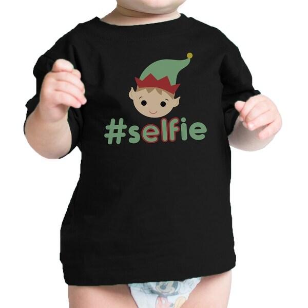 Hashtag Selfie Elf Baby Tee Black Funny Christmas Gift For Newborn