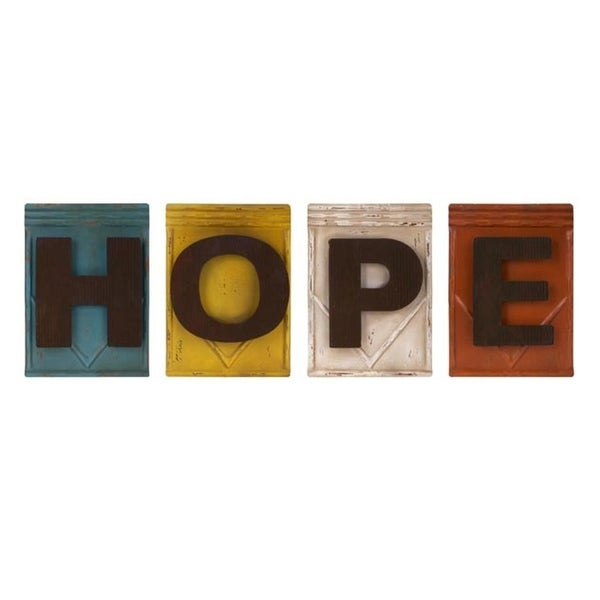 Shop Set of 4 Expressions of Happiness Multi-Colored Hope Metal ...