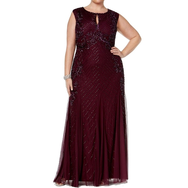 Adrianna Papell Plus Size Beaded Keyhole Evening Gown Dress - 16W ...