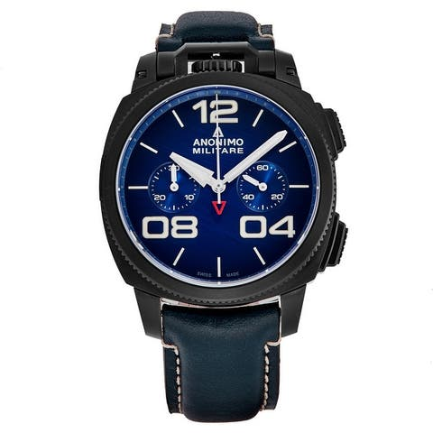 Anonimo Men's AM-1120.02.003.A03 'Militare' Blue Scratched Dial Leather Strap Chronograph Swiss Automatic Watch