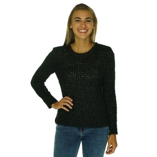 Rampage Juniors Metallic Open Knit Long Sleeve Sweater - XL