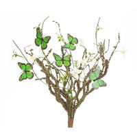 """Pack of 6 Artificial Green Butterflies with White Flowers Sprays 18"""""""