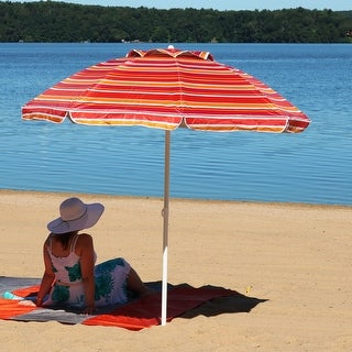 Sunnydaze 6-Foot Beach Umbrella with UV Protection and Tilt - Malibu Dream
