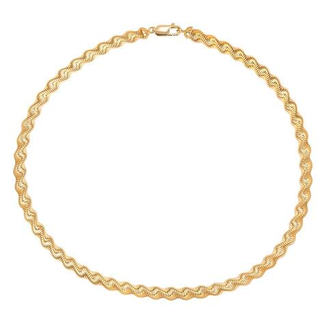 """BRONZORO 18 k Gold Overlay 18"""" Twisted 7mm Spring Necklace"""