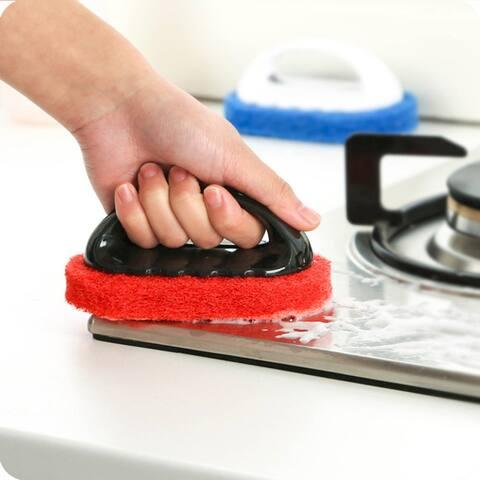 Strong Decontamination Sponge Brush Handle Brush Hard Bottom Cleaning Brush - White