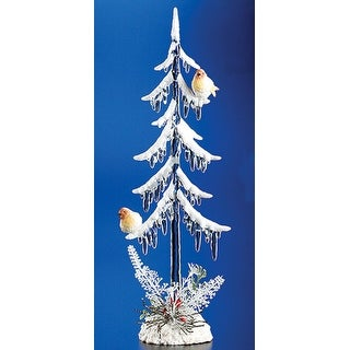 Pack of 4 Icy Crystal Illuminated Christmas Icicle Tree w/ Birds Figurines 11.5""