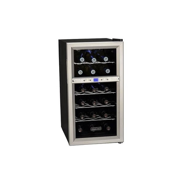Koldfront TWR181E 14 Inch Wide 18 Bottle Wine Cooler with Dual Thermoelectric Cooling Zones