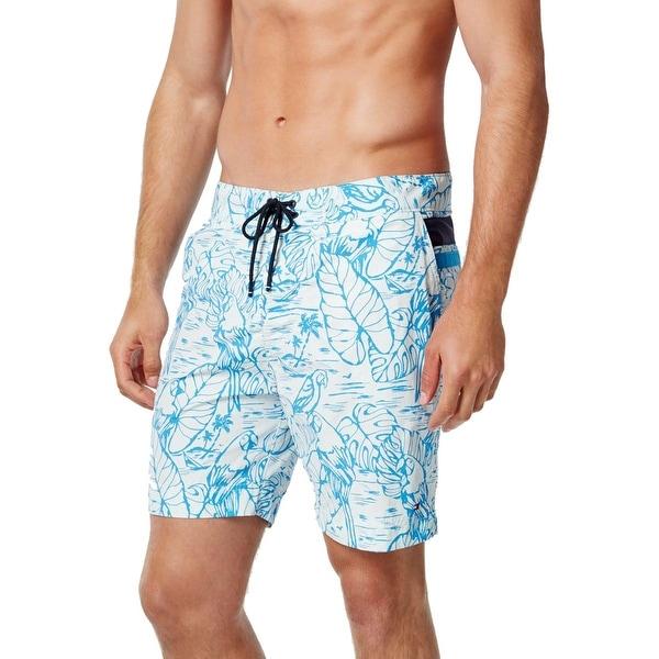 Tommy Hilfiger Mens Tropical Print Button Closure Board Shorts