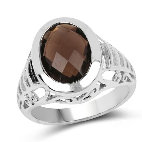 Olivia Leone Sterling Silver 5 1/2ct Smoky Topaz Ring