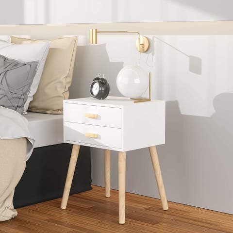 Set of 2 Nightstand with 2 Drawer, Wood Bedside Table Storage Cabinet