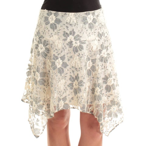 RACHEL ROY Womens Blue Lace Floral Below The Knee A-Line Skirt Size: 2