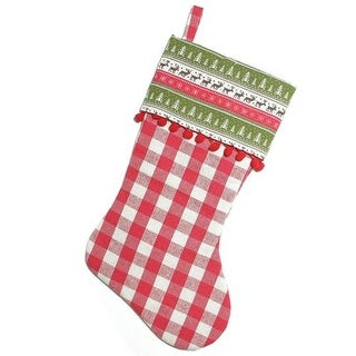 19 Red and Green Rustic Plaid Christmas Stocking with Red Pom-Poms and Lodge Cuff