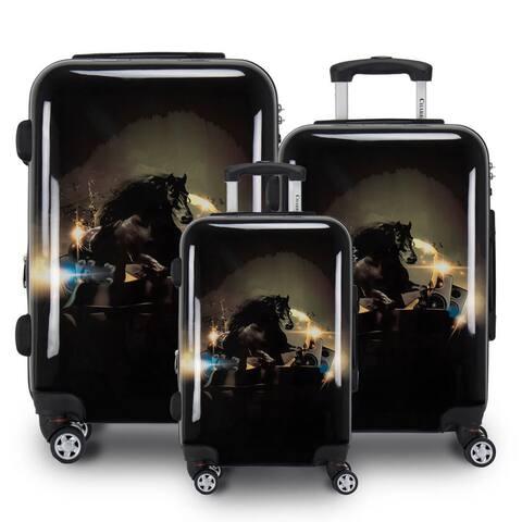 Stallion Horse 3 Piece Hardside Spinner Luggage Set