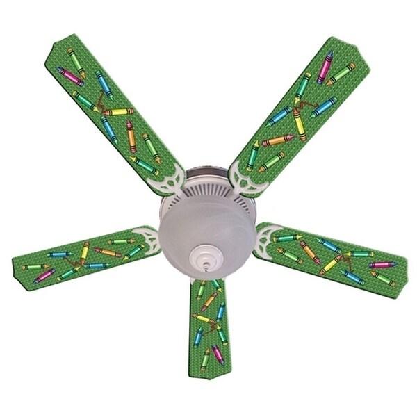 Green Crayon Print Blades 52in Ceiling Fan Light Kit - Multi