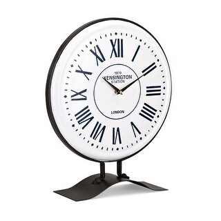 """16.5"""" White and Blue Vintage Styled Decorative Indoor Table Clock"""