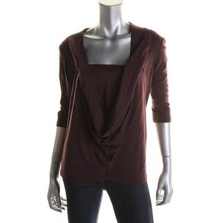 Catherine Malandrino Womens Drape Neck 3/4 Sleeves Pullover Top - S