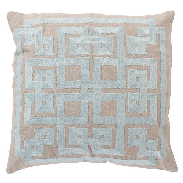 "18"" Cool and Tan Gray Decorative Throw Pillow - Down Filler"