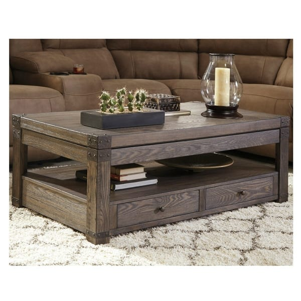 Ashley Furniture T846 9 Burladen Lift Top Coffee Table W Vintage Finish Metal Brackets