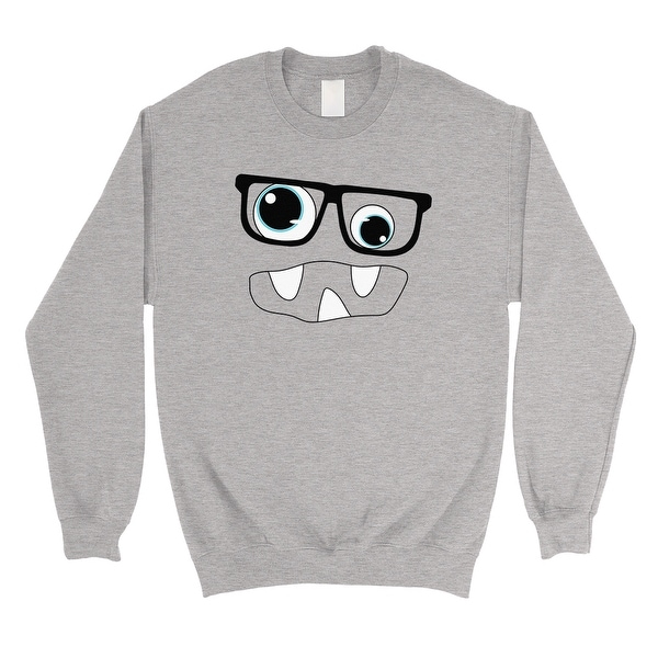 341cce2f516 Shop Monster With Glasses Unisex Grey Crewneck Sweatshirt - Free ...