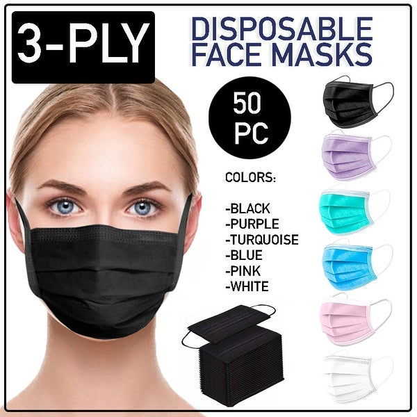 Disposable Face Mask 50 PCS 3-Ply Dental Medical Ear-Loop Mouth Cover - OS. Opens flyout.