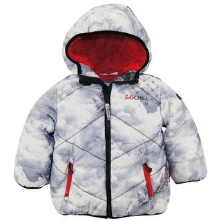 Big Chill Toddler Boys Quilted Winter Puffer Jacket with Sherpa Hood Coat 2T